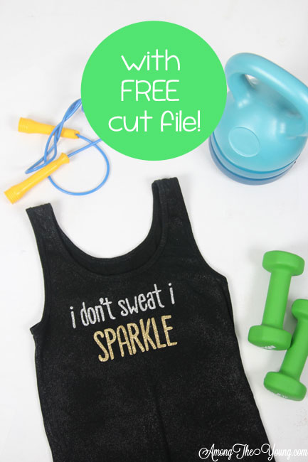 The Best DIY workout tank featured by top Utah Lifestyle blog, Among the Young: image of I don't sweat I sparkle tank and cut file