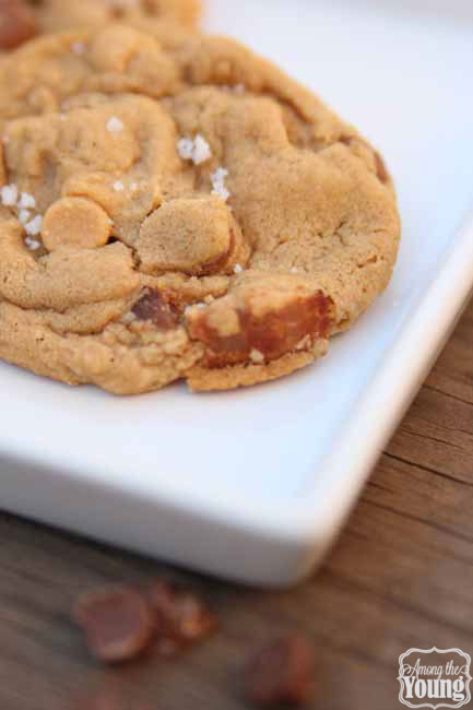Browned Butter Chewy Cookies and Cream cookies by popular Utah food blog, Among the Young: image of browned butter bacon cookies.