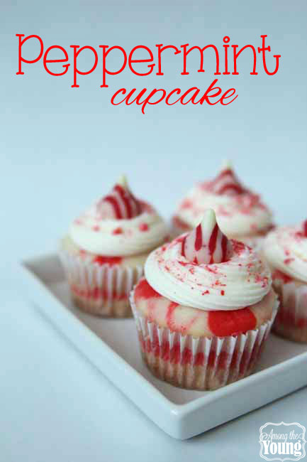 The Best Peppermint Cupcakes Recipe featured by top US food blog, Among the Young