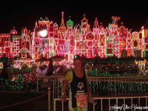 Disneyland Mint Julep Recipe by popular Utah food blog, Among the Young: image of a Disneyland It's a Small World with Christmas lights.