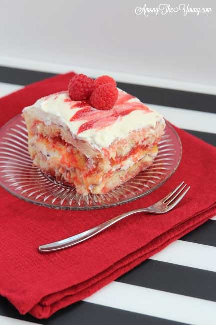 Lemon Raspberry Tiramisu Recipe featured by top US food blog, Among the Young