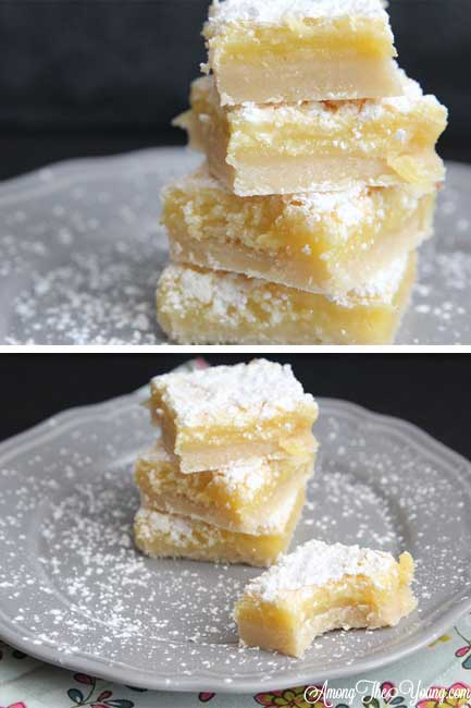 The Best Lemon Bars Recipe in the World, featured by top US food blog, Among the Young: image of The best Lemon Bars ever