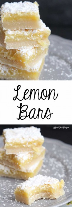 The Best Lemon Bars Recipe in the World, featured by top US food blog, Among the Young: image of Lemon Bars on a plate