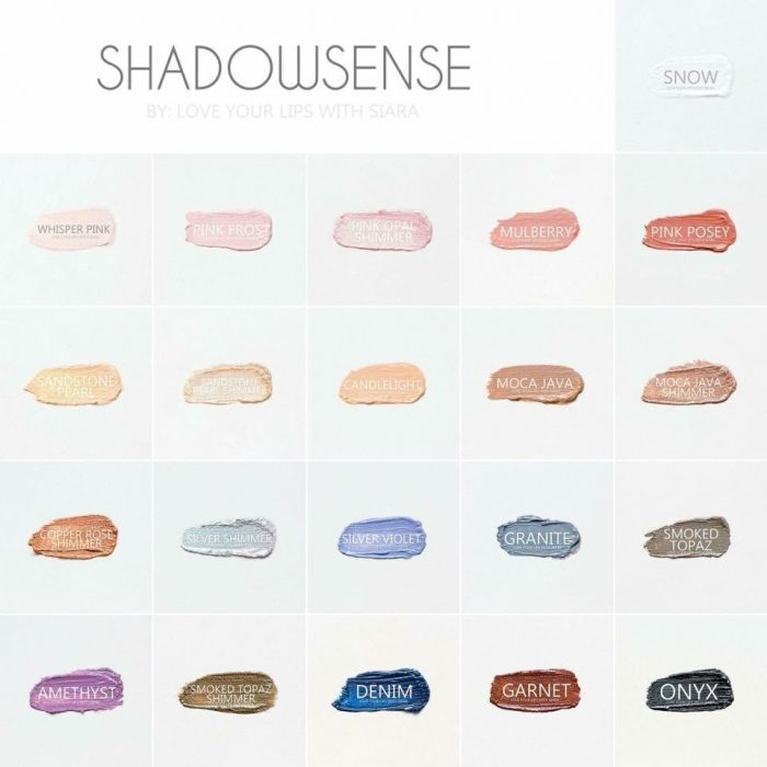 ShadowSense Colors Catalog featured by top Lipsense distributor, Kaylynn of Among the Young