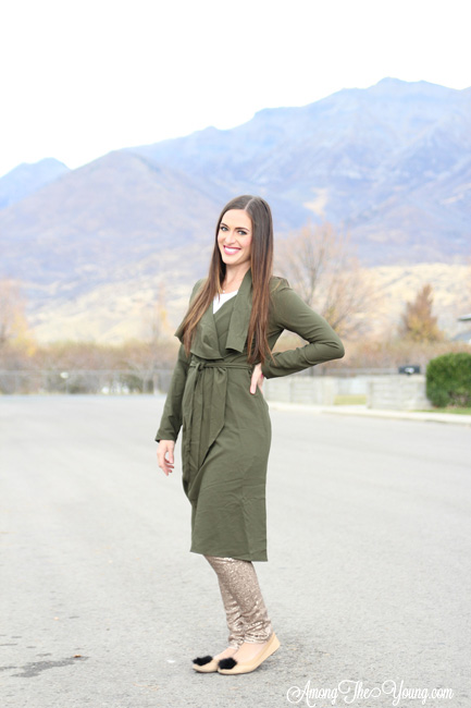 olive green duster jacket