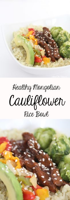 Healthy Mongolian Cauliflower Rice Bowl recipe featured by top US food blog, Among the Young