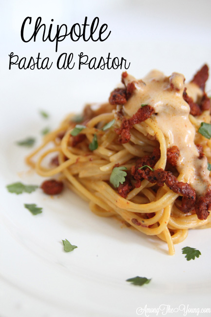 Chipotle Pasta Al Pastor Recipe featured by top US food blog, Among the Young