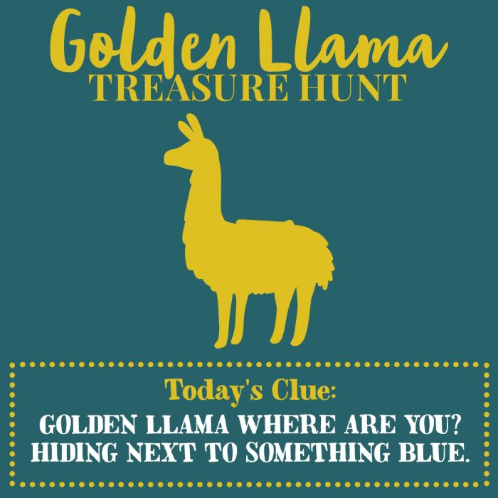 Golden Llama Treasure Hunt Clue 1