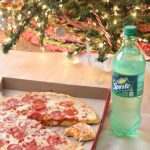 Christmas movie night with pizza and Sprite®