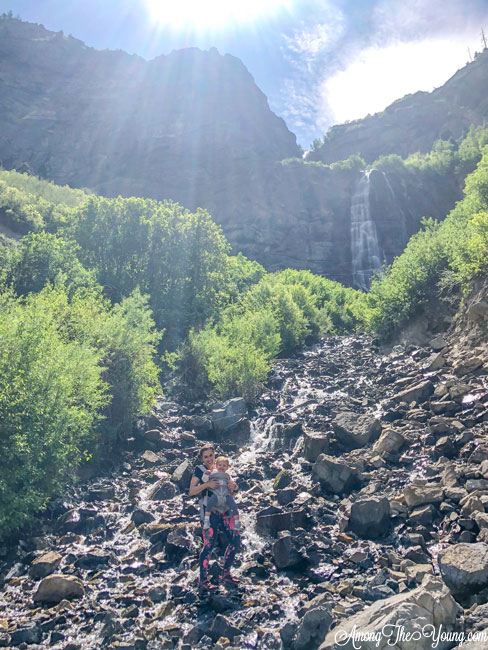 Hiking with an Ergo Baby Carrier featured by top US lifestyle blog, Among the Young: hiking with ergobaby bridal veil falls