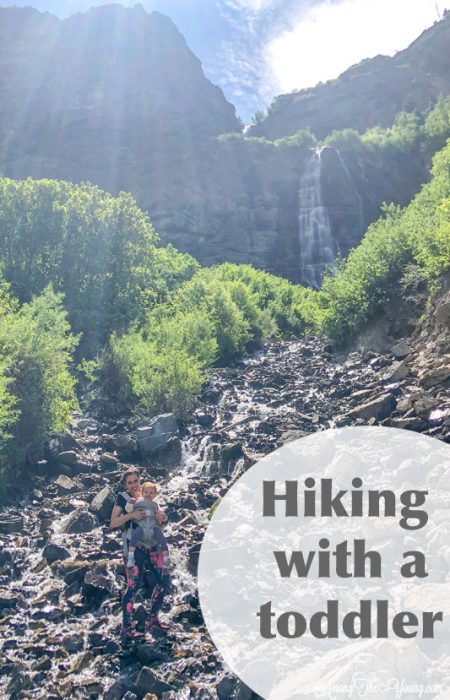 hiking with toddler up a waterfall