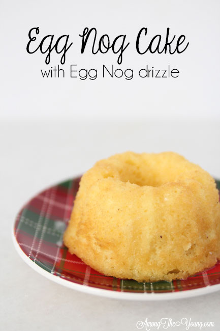 The Best Egg Nog cake recipe featured by top Utah Foodie blog, Among the Young: image of mini bundt and Christmas plate