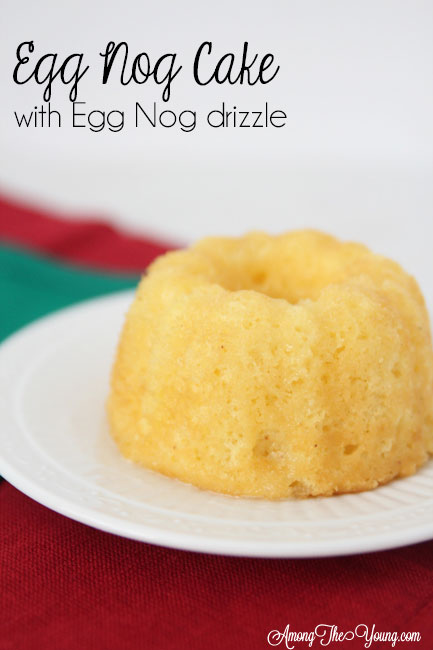 The Best Egg Nog cake recipe featured by top Utah Foodie blog, Among the Young: image of Egg Nog bundt and red napkin