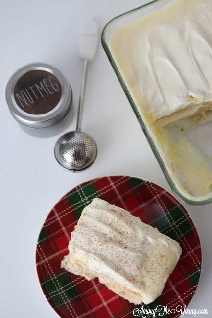 The Best Egg Nog Tiramisu featured by top Utah Foodie blog, Among the Young: image of tiramisu from above