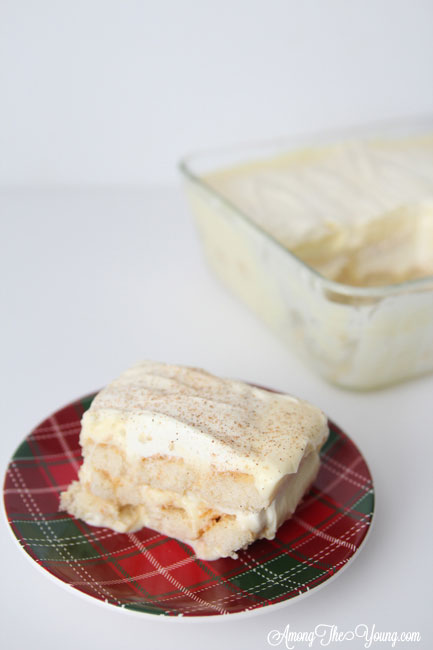 The Best Egg Nog Tiramisu featured by top Utah Foodie blog, Among the Young: image of white tiramisu slice with the pan