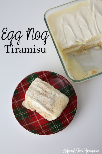 The Best Egg Nog Tiramisu featured by top Utah Foodie blog, Among the Young: image of white backdrop pin from above