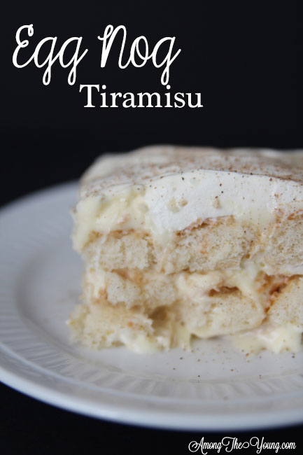 The Best Egg Nog Tiramisu featured by top Utah Foodie blog, Among the Young: image of black backdrop PIN