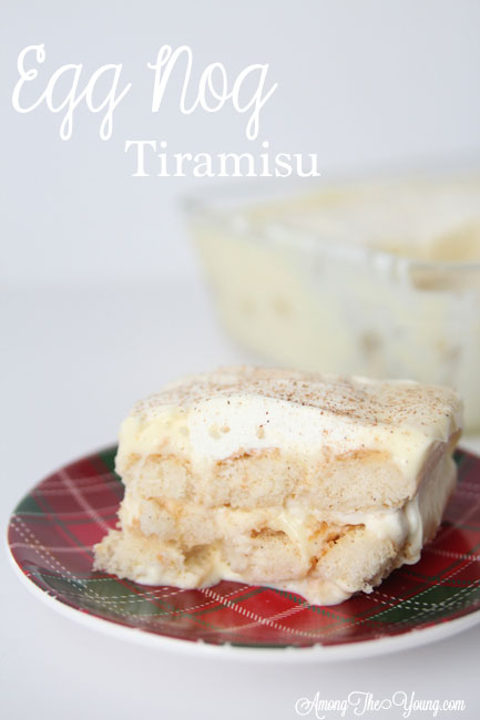 The Best Egg Nog Tiramisu featured by top Utah Foodie blog, Among the Young: image of white backdrop tiramisu