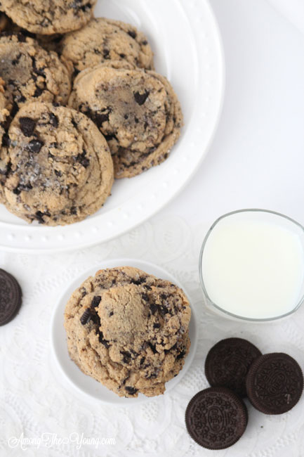 Browned Butter Cookies and Cream Cookies featured by top Utah Foodie blog, Among the Young: image of cookies from above