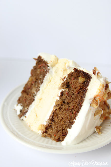 Carrot cheesecake cake featured by top Utah Foodie blog, Among the Young: image of cake close up | The Ultimate Carrot Cake Cheesecake Cake Recipe by popular US food blog, Among the Youngs: image of carrot cake cheesecake.