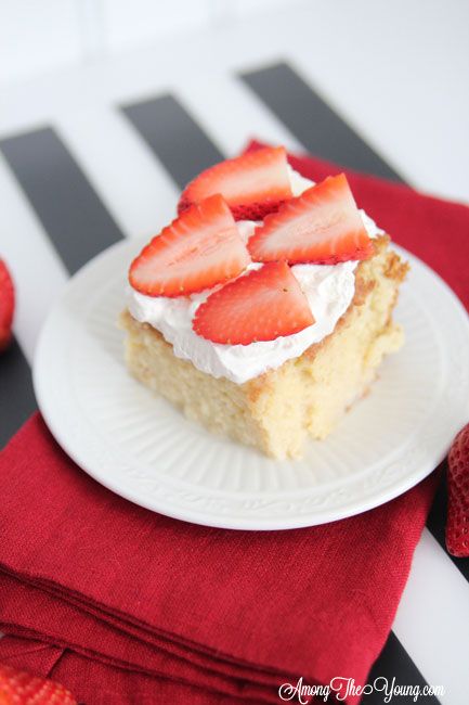 The most delicious tres leches cake featured by top Utah Foodie blog, Among the Young: image of tres leches cake | Easy Tres Leches Recipe by popular Utah lifestyle blog, Among the Young: Pinterest image of Tres Leches cake.
