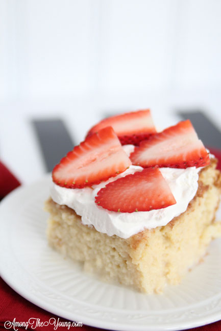 The most delicious tres leches cake featured by top Utah Foodie blog, Among the Young: image of moist tres leches | Easy Tres Leches Recipe by popular Utah lifestyle blog, Among the Young: Pinterest image of Tres Leches cake.