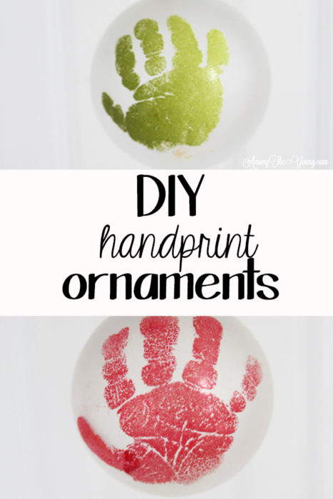The cutest DIY handprint ornament featured by top Utah craft blog, Among the Young: image of old and young handprint PIN | How to make the cutest DIY handprint ornament by popular Utah life and style blog, Among the Young: image of a DIY handprint ornament.