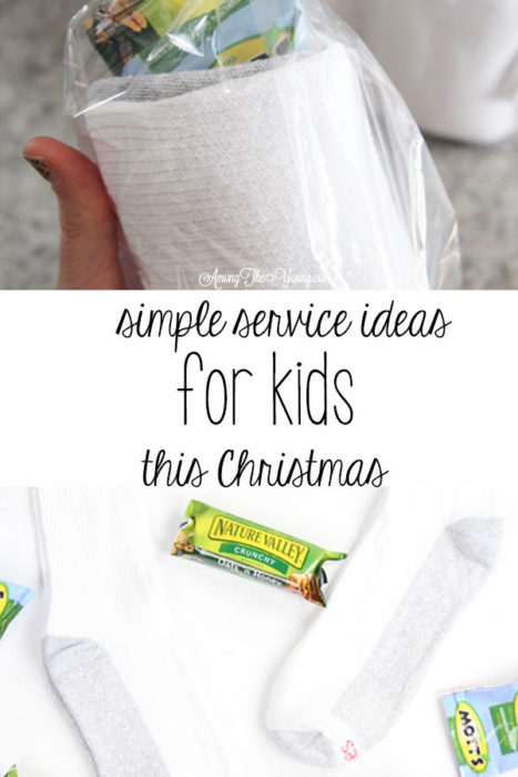 How to give back to the community this Christmas season featured by top Utah lifestyle blog, Among the Young: image of socks main PIN   Give Back by popular Utah lifestyle blog, Among the Young: Pinterest image of a socks, granola bars, and fruit snacks.