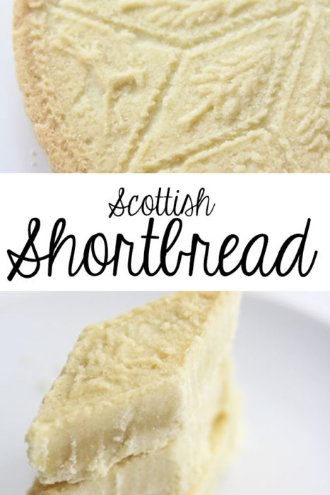 scottish shortbread recipe Main Pin with two pictures |  Traditional Scottish Shortbread Recipe for the Holidays by popular Utah food blog, Among the Young; image of Scottish shortbread.