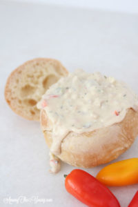 Disneyland clam chowder close up | Disneyland Mint Julep Recipe by popular Utah food blog, Among the Young: image of a Disneyland clam chowder in a bread bowl.