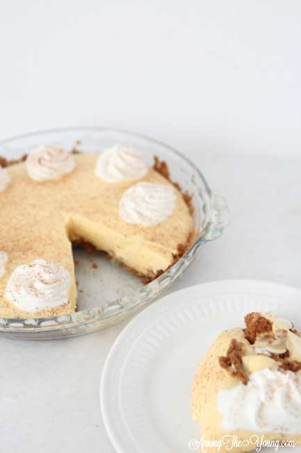 The Best Egg Nog Pie recipe featured by top Utah Foodie blog, Among the Young: image of Egg Nog Pie and slice | Egg Nog Pie by popular Utah lifestyle blog, Among the Young: image of a egg nog pie.