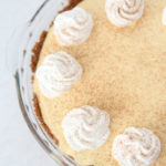 The Best Egg Nog Pie recipe featured by top Utah Foodie blog, Among the Young: image of Egg Nog Pie from above close up