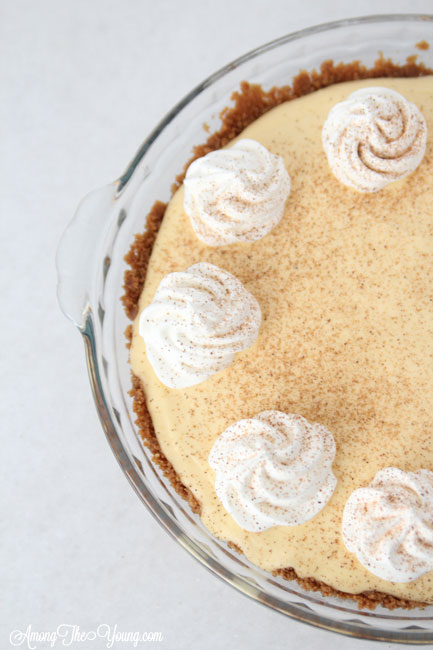 The Best Egg Nog Pie recipe featured by top Utah Foodie blog, Among the Young: image of Egg Nog Pie from above with Nutmeg | Egg Nog Pie by popular Utah lifestyle blog, Among the Young: image of a egg nog pie.