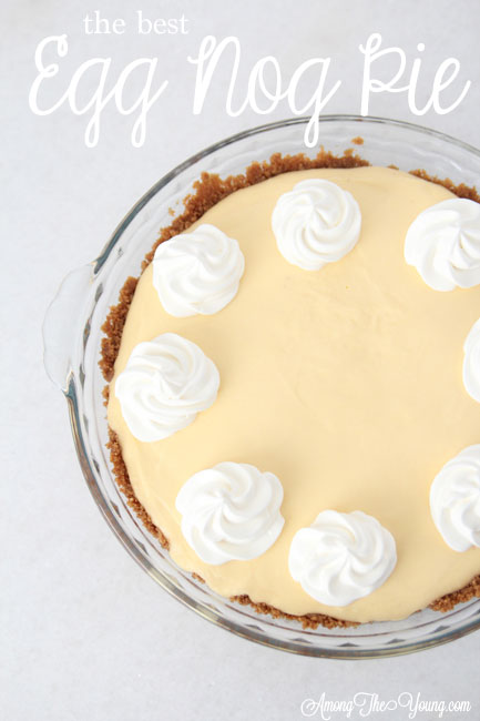 The Best Egg Nog Pie recipe featured by top Utah Foodie blog, Among the Young: image of the best ever Egg Nog Pie Pin | Egg Nog Pie by popular Utah lifestyle blog, Among the Young: image of a egg nog pie.
