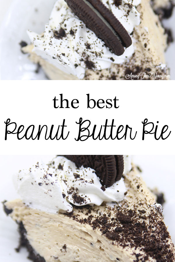 The Best easy Peanut Butter Pie recipe by top Utah Foodie blog, Among the Young: PIN of peanut butter pie | Easy Peanut Butter Pie Recipe by popular Utah food blog, Among the Young: Pinterest image of peanut butter pie.