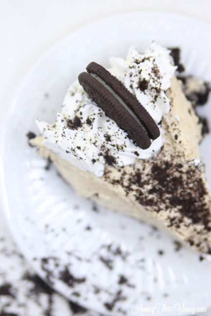 The Best easy Peanut Butter Pie recipe by top Utah Foodie blog, Among the Young: image of peanut butter pie slice from above | Easy Peanut Butter Pie Recipe by popular Utah food blog, Among the Young: a slice of peanut butter pie on white plate that's surrounded by crushed Oreos.