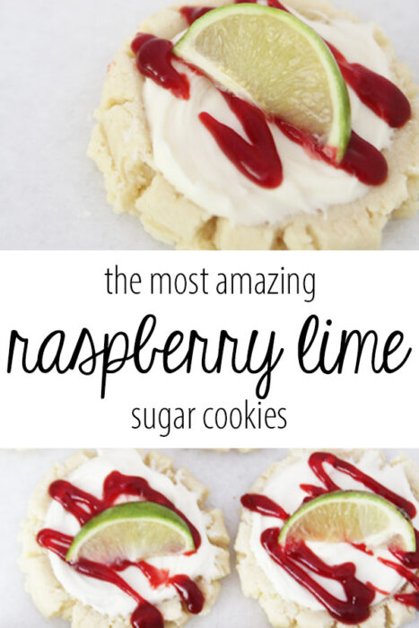 The most amazing raspberry lime sugar cookies featured by top Utah Foodie blog Among the Young: image of cookie PIN | Key Lime Raspberry Sugar Cookies by popular Utah food blog, Among the Young: Pinterest image of key lime raspberry sugar cookies.