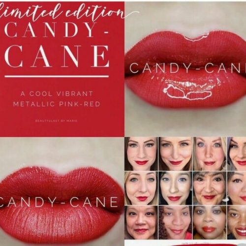 Red Lipsense : image of Candy Cane Red |Red Lipsense by popular Utah lifestyle blog, Among the Young: collage image of Lipsense Candy Cane and women wearing Lipsense Candy Cane.