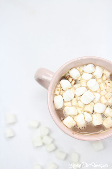 Hot chocolate recipe by top Utah Foodie Among the Young: image of cocoa from above |Hot Chocolate Recipe by popular Utah lifestyle blog, Among the Young: image of a mug of hot chocolate.