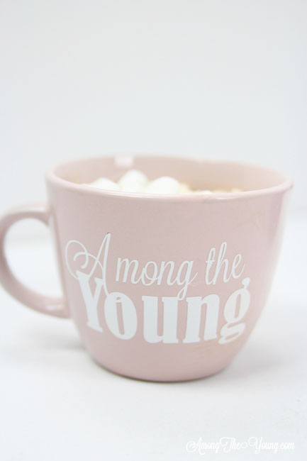 Hot chocolate recipe by top Utah Foodie Among the Young: image of Among the Young mug |Hot Chocolate Recipe by popular Utah lifestyle blog, Among the Young: image of a mug of hot chocolate.