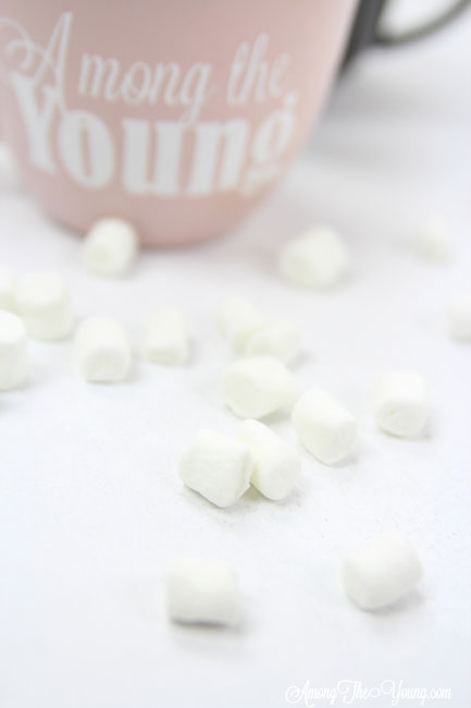 Hot chocolate recipe by top Utah Foodie Among the Young: image of marshmallows |Hot Chocolate Recipe by popular Utah lifestyle blog, Among the Young: image of mini marshmallow scattered in front of a pink mug.