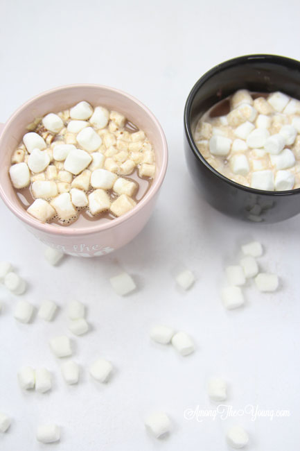 Hot chocolate recipe by top Utah Foodie Among the Young: image of hot chocolate side by side and marshmallows |Hot Chocolate Recipe by popular Utah lifestyle blog, Among the Young: image of two mugs of hot chocolate.