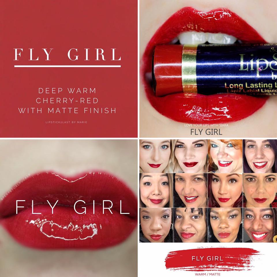Red Lipsense : image of Fly Girl | Red Lipsense by popular Utah lifestyle blog, Among the Young: collage image of Lipsense Fly Girl and women wearing Lipsense Fly Girl.