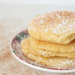 The best ricotta pancakes recipe featured by top Utah Foodie Among the Young: image of ricotta pancakes stacked