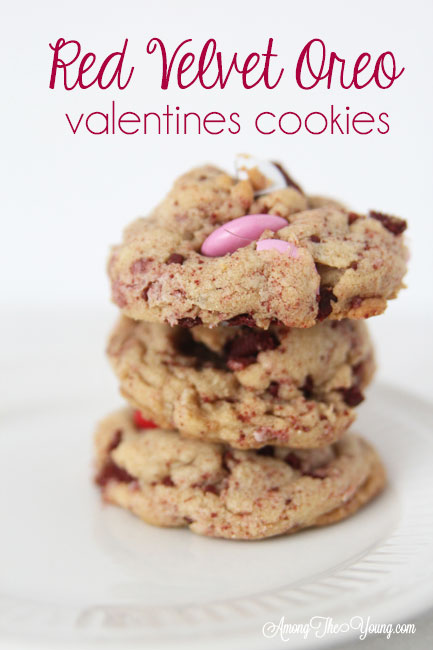 The Best Valentines Cookie featured by top Utah Foodie blog Among the Young: image of Red Velvet oreo cookies stacked PIN |Browned Butter Cookies by popular Utah food blog, Among the Young: Pinterest image of browned butter red velvet Oreo M&M cookies.