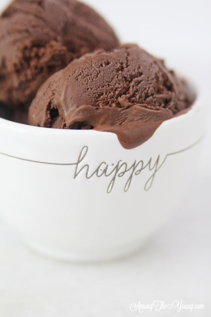The Best Chocolate ice cream featured by top Utah Foodie blog Among the Young: image of HAPPY bowl | Chocolate Ice Cream Recipe by popular Utah food blog, Among the Young: image of chocolate ice cream in some white stacked ceramic bowls and a metal ice cream scoop.