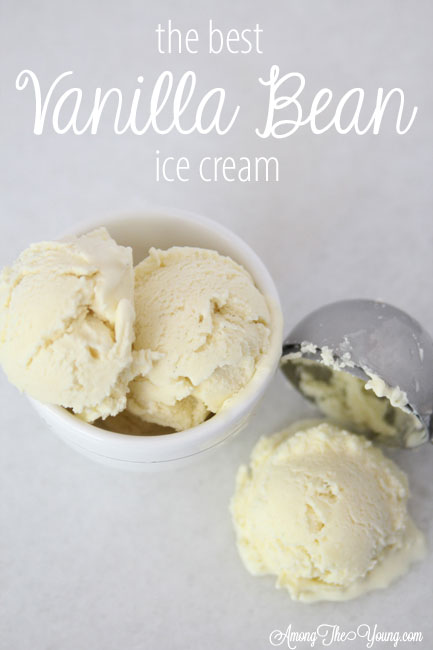 The Best vanilla bean ice cream featured by top Utah Foodie blog Among the Young: image of vanilla bean pin 2