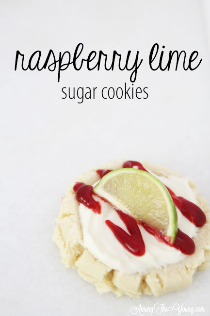 The most amazing raspberry lime sugar cookies featured by top Utah Foodie blog Among the Young: image of raspberry lime PIN | Key Lime Raspberry Sugar Cookies by popular Utah food blog, Among the Young: Pinterest image of key lime raspberry sugar cookies.