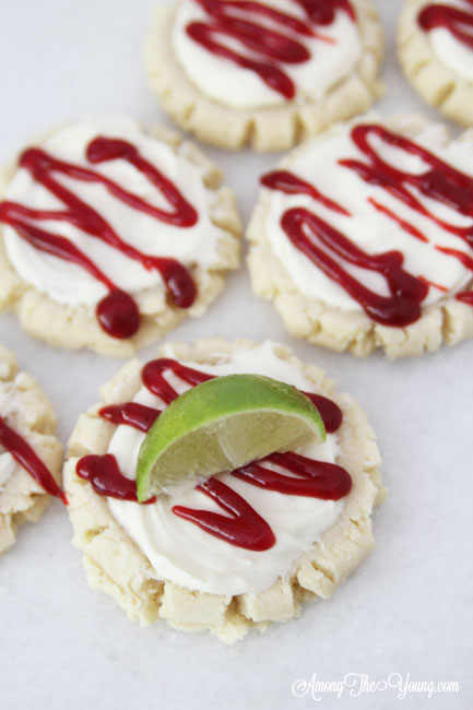 The most amazing raspberry lime sugar cookies featured by top Utah Foodie blog Among the Young: image of cookies from above | Key Lime Raspberry Sugar Cookies by popular Utah food blog, Among the Young: image of key lime raspberry sugar cookies.