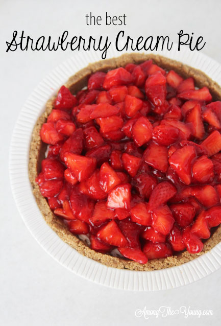 The best strawberry cream pie featured by top Utah Lifestyle blog Among the Young: image of strawberry cream pie PIN 2